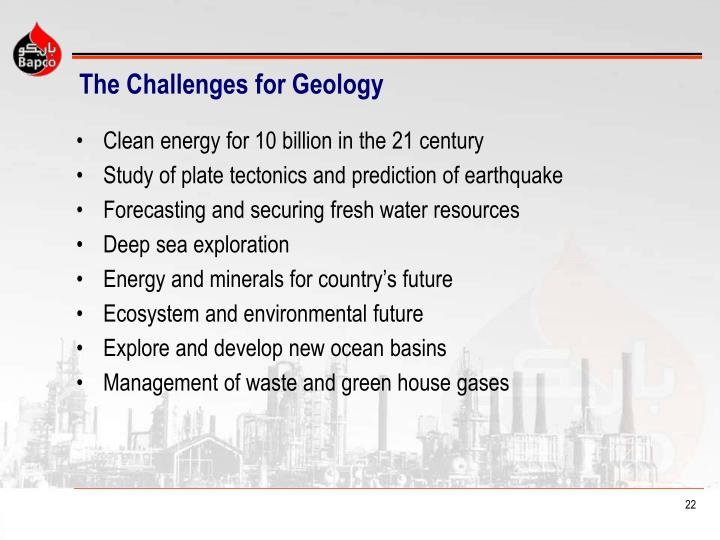 The Challenges for Geology