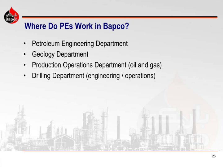 Where Do PEs Work in Bapco?
