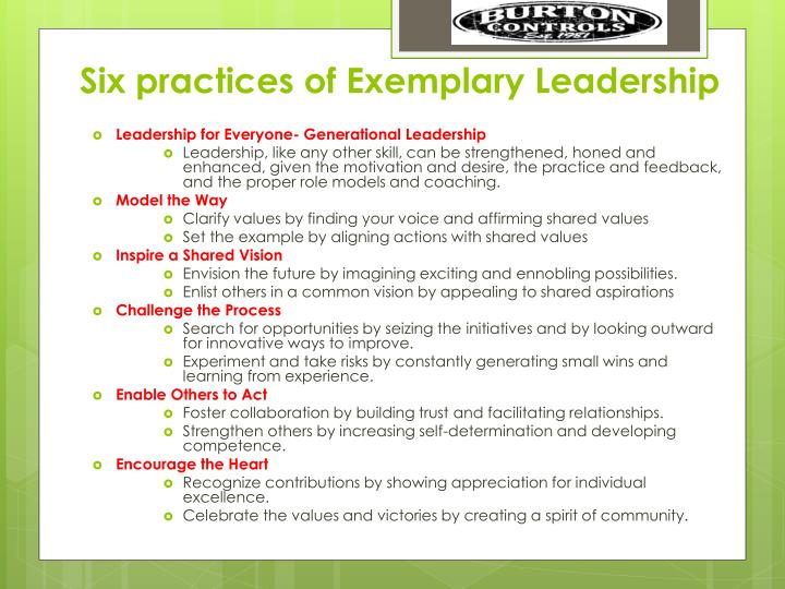 Six practices of Exemplary Leadership