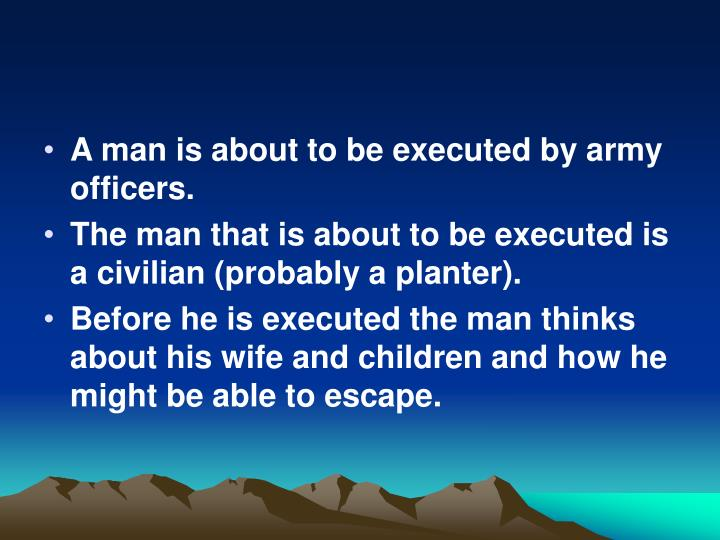 A man is about to be executed by army officers.