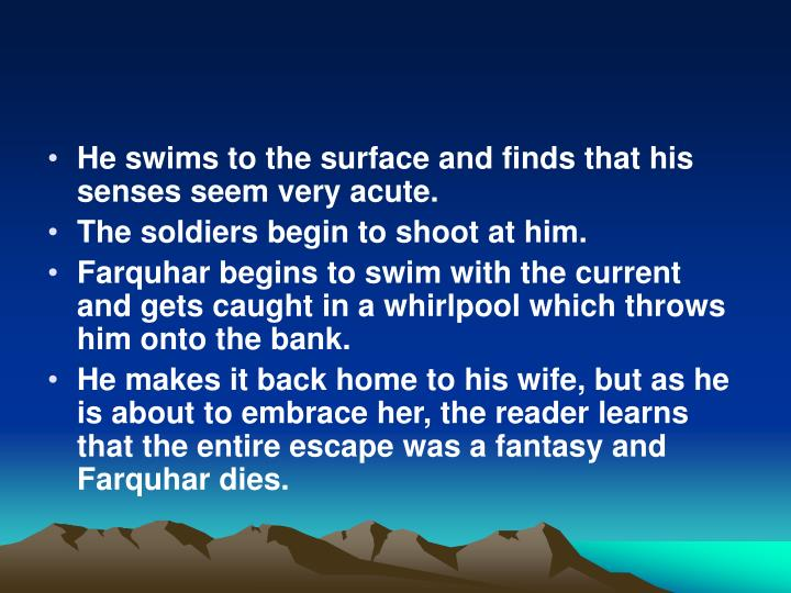 He swims to the surface and finds that his senses seem very acute.