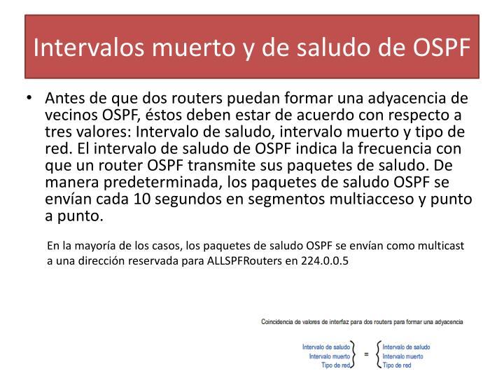 Intervalos muerto y de saludo de OSPF