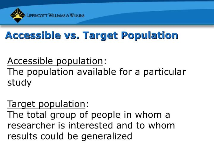 Accessible vs. Target Population