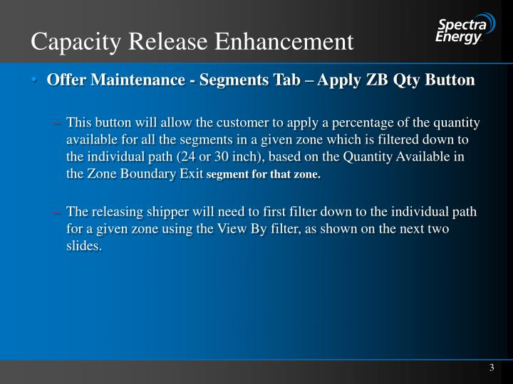 Capacity release enhancement1
