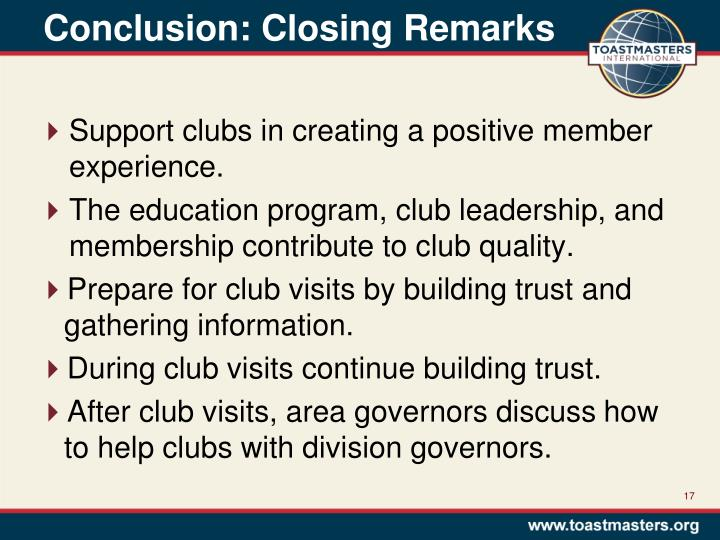 Conclusion: Closing Remarks