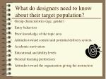 what do designers need to know about their target population