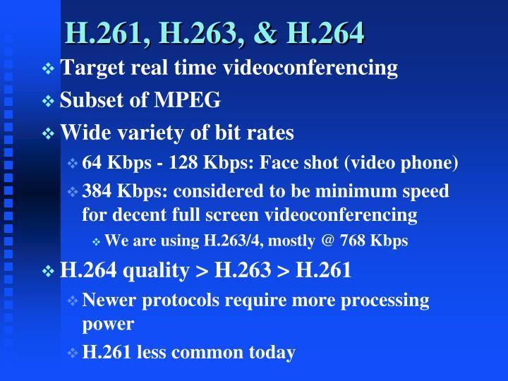 H.261, H.263, & H.264