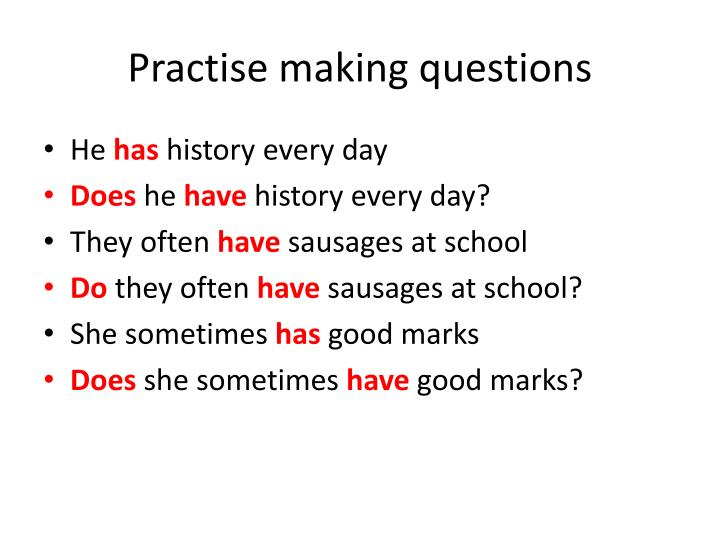 Practise making questions