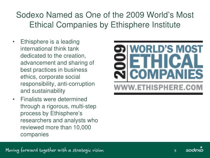 Sodexo Named as One of the 2009 World's Most Ethical Companies by Ethisphere Institute