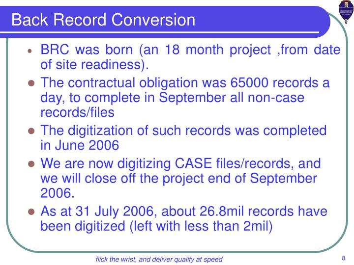 Back Record Conversion