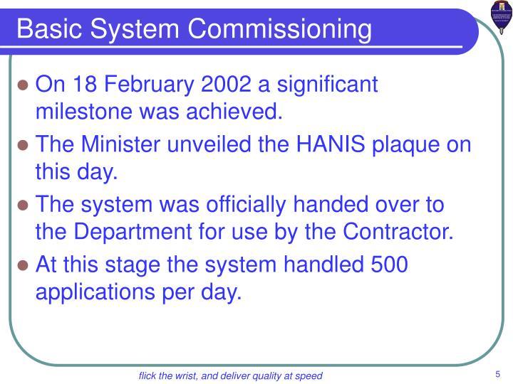 Basic System Commissioning