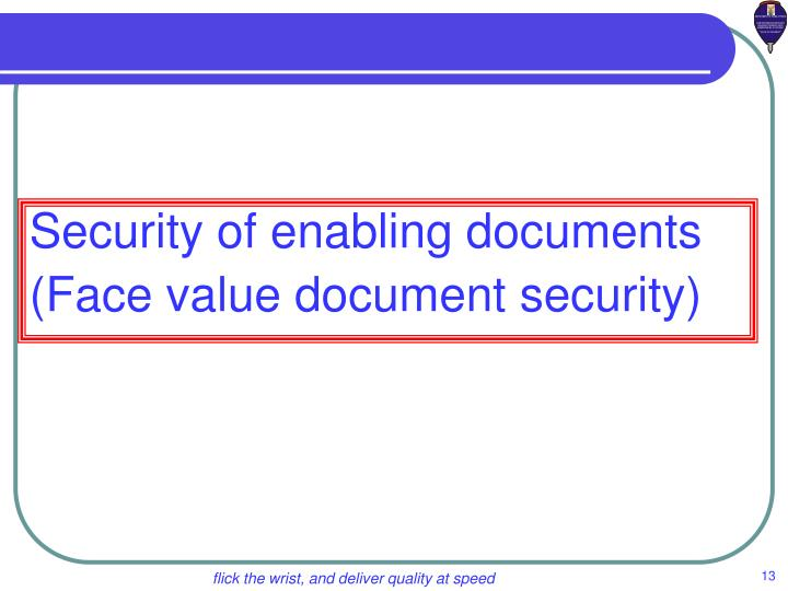 Face value document security