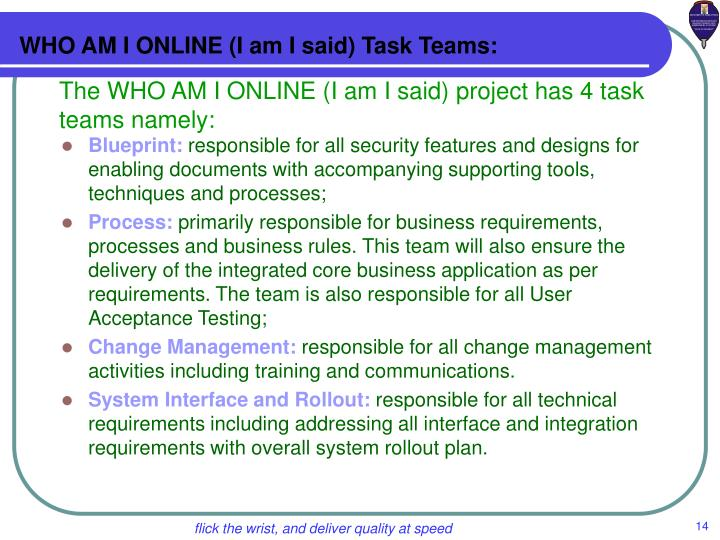 WHO AM I ONLINE (I am I said) Task Teams: