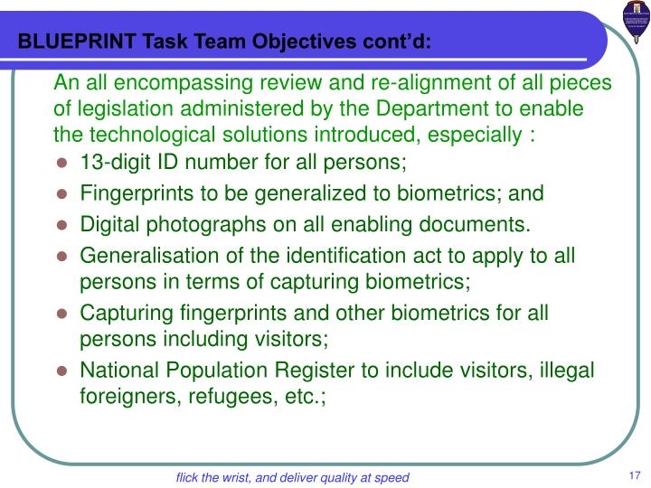 BLUEPRINT Task Team Objectives cont'd: