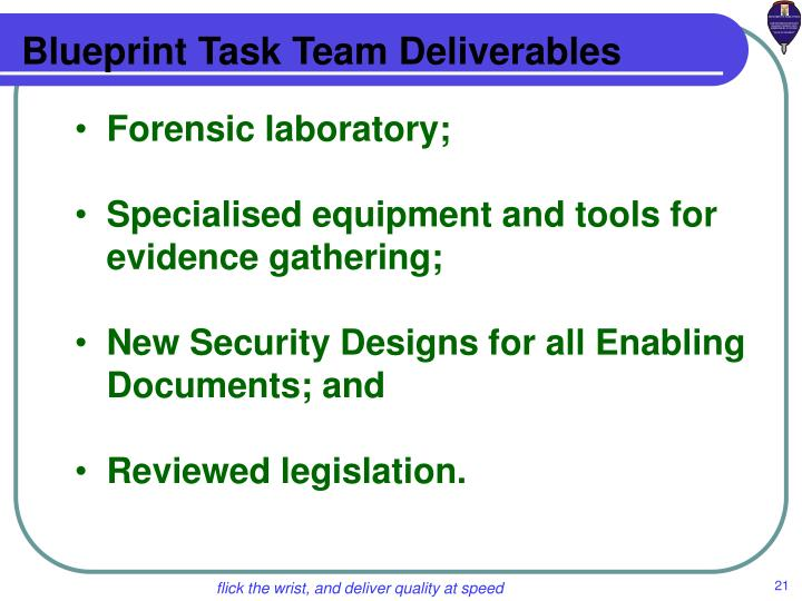 Blueprint Task Team Deliverables