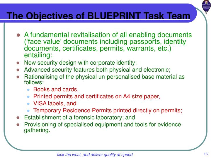 The Objectives of BLUEPRINT Task Team