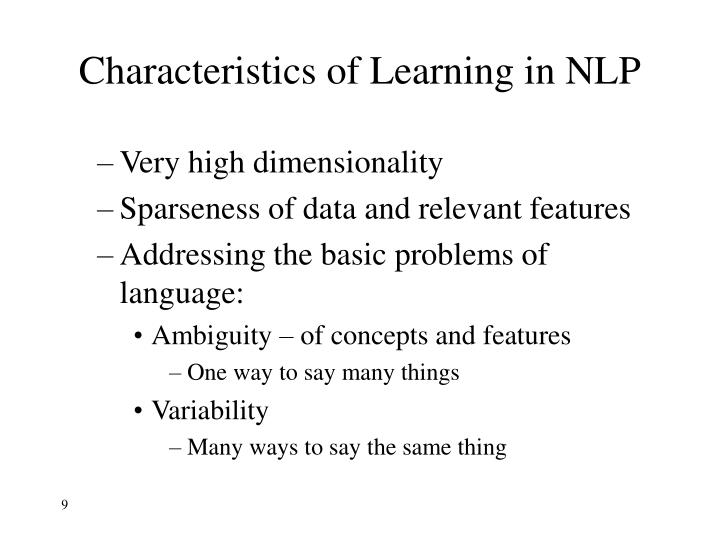 Characteristics of Learning in NLP