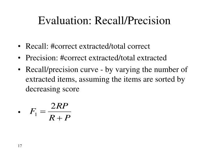 Evaluation: Recall/Precision