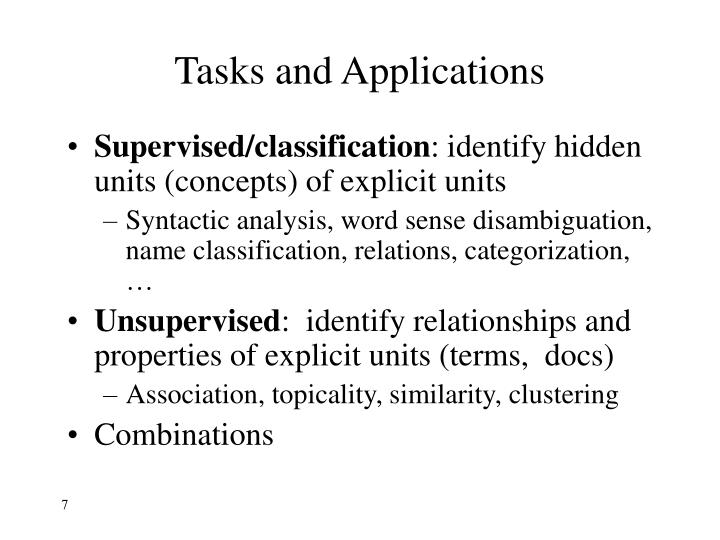 Tasks and Applications