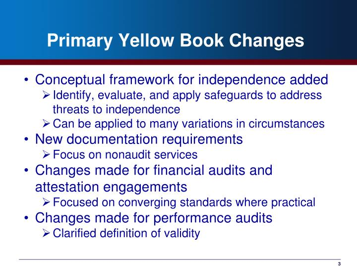 Primary yellow book changes