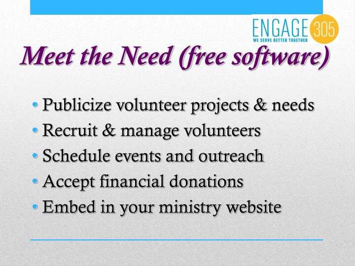 Meet the Need (free software