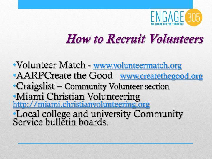 How to Recruit Volunteers