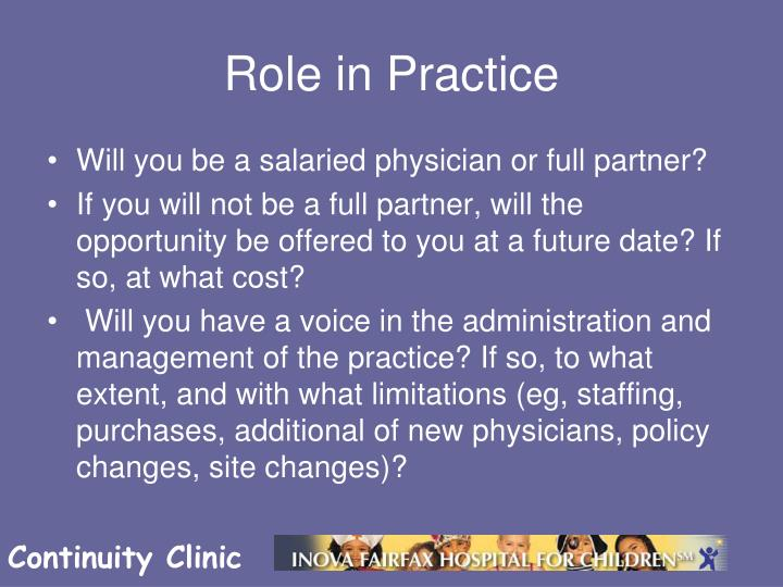 Role in Practice