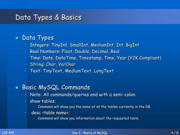 Data Types & Basics