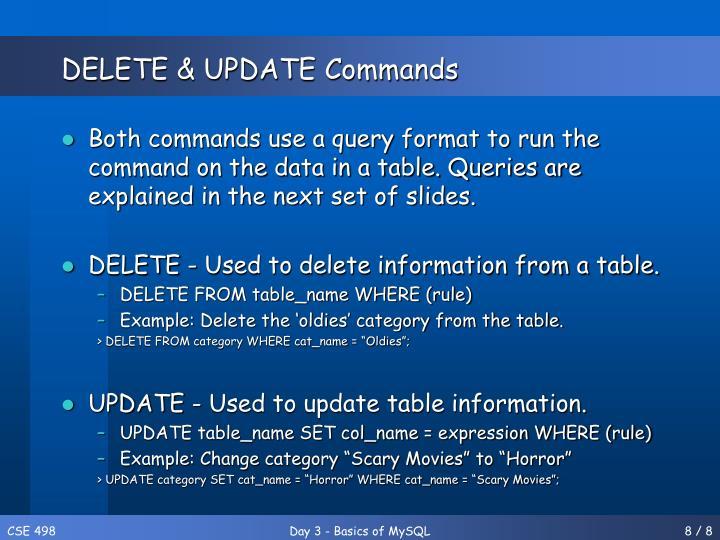 DELETE & UPDATE Commands