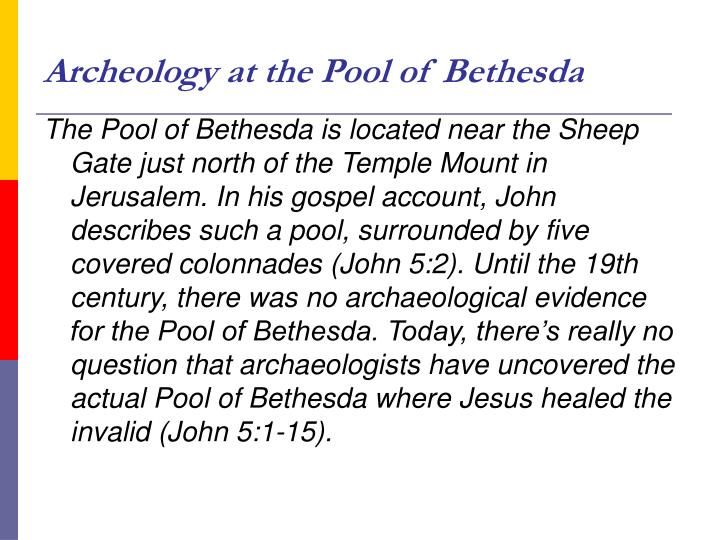 Archeology at the Pool of Bethesda
