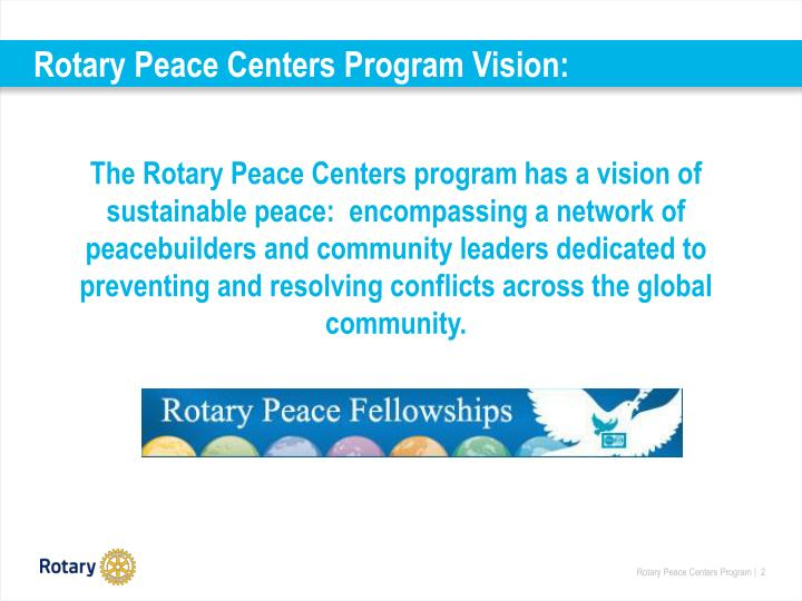 Rotary peace centers program vision