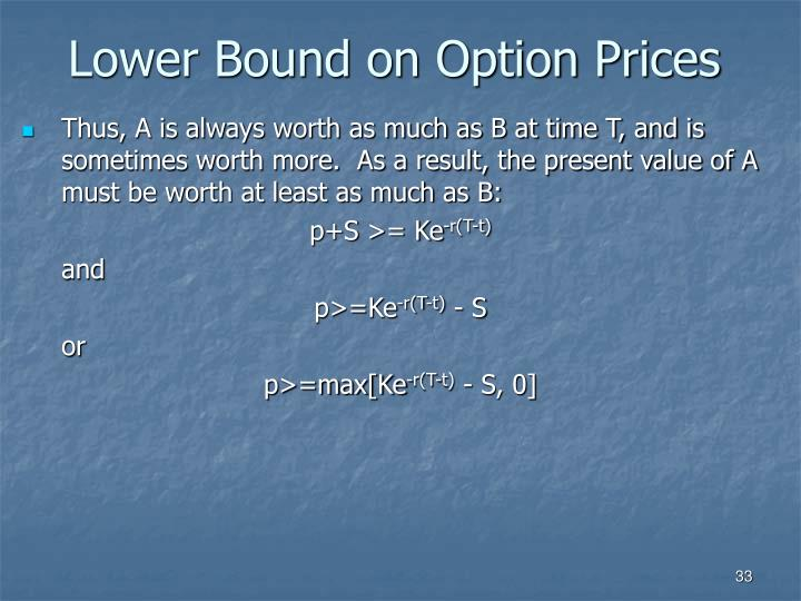 Lower Bound on Option Prices