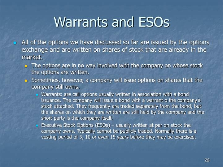 Warrants and ESOs