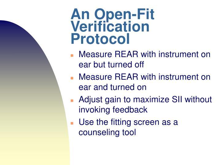 An Open-Fit Verification Protocol