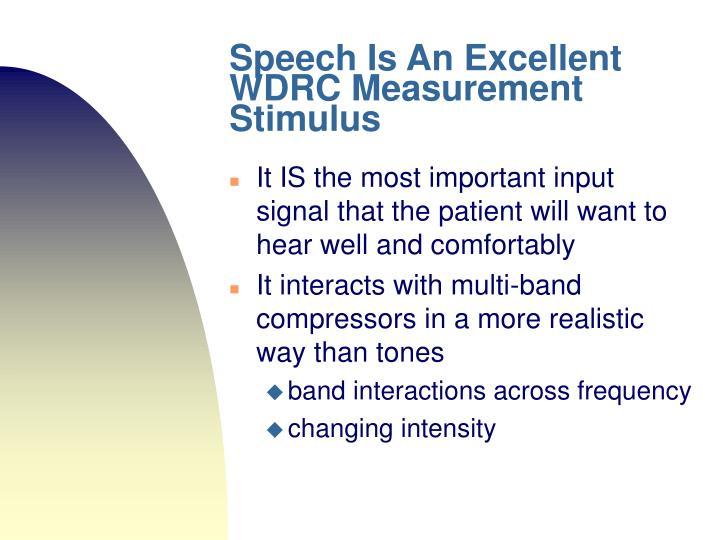 Speech Is An Excellent WDRC Measurement Stimulus