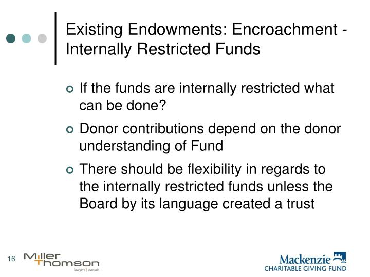 Existing Endowments: Encroachment - Internally Restricted Funds