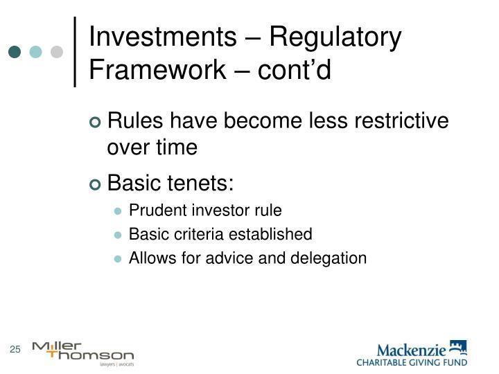 Investments – Regulatory Framework – cont'd