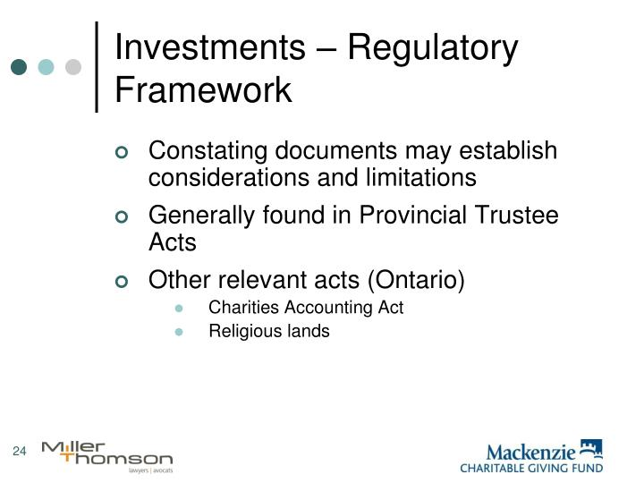 Investments – Regulatory Framework
