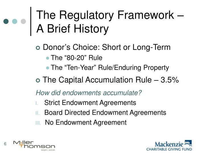 The Regulatory Framework – A Brief History