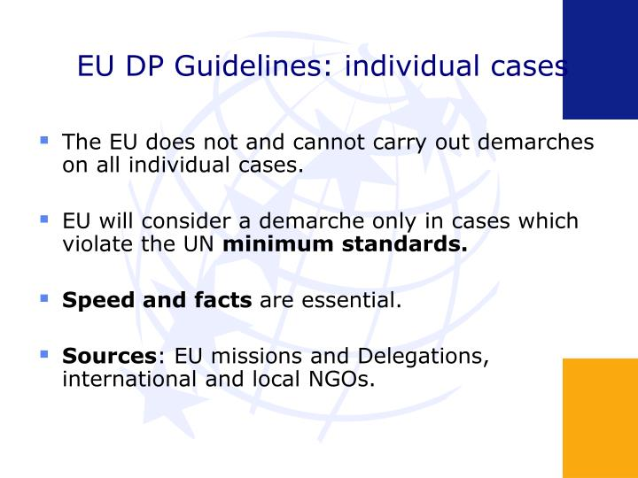 EU DP Guidelines: individual cases