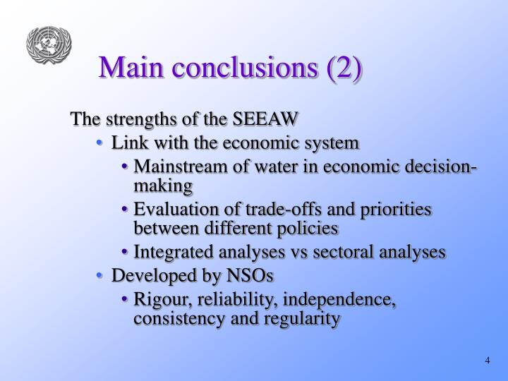 Main conclusions (2)