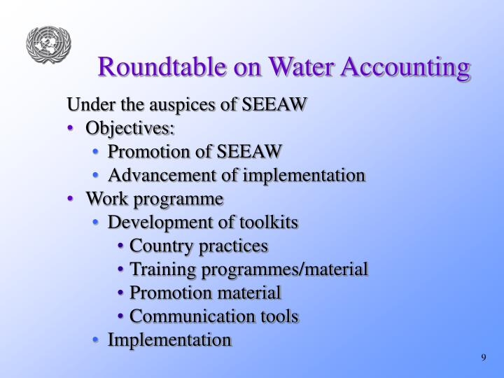 Roundtable on Water Accounting