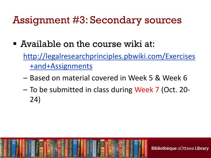 Assignment #3: Secondary sources