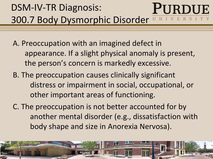 DSM-IV-TR Diagnosis: