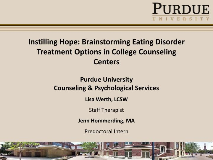 Instilling Hope: Brainstorming Eating Disorder Treatment Options in College Counseling Centers