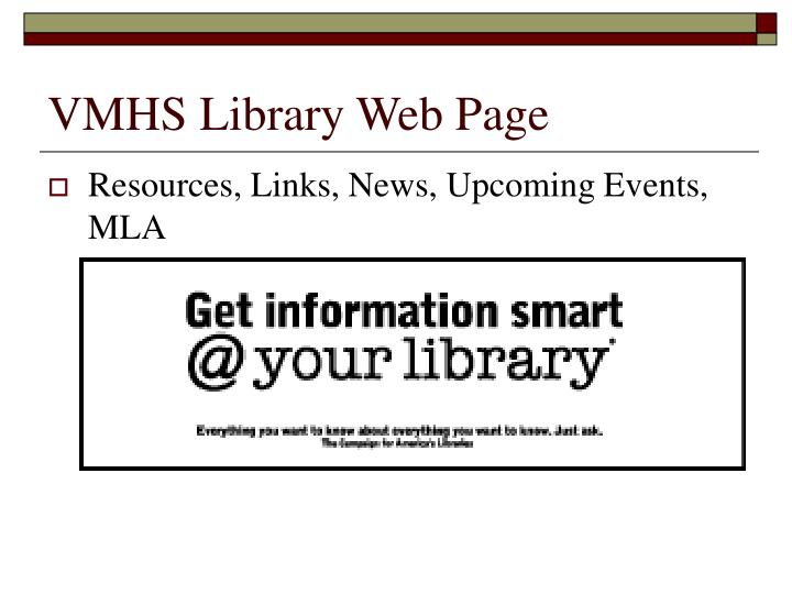 VMHS Library Web Page
