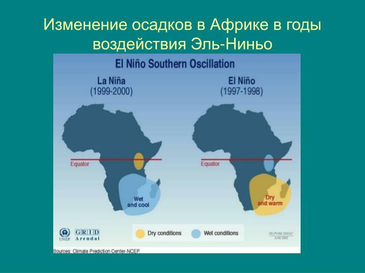 Изменение осадков в Африке в годы воздействия Эль-Ниньо