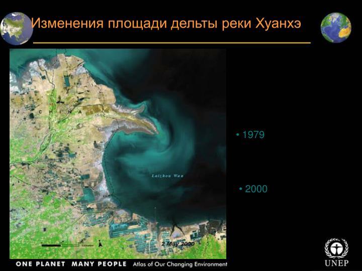 Изменения площади дельты реки Хуанхэ