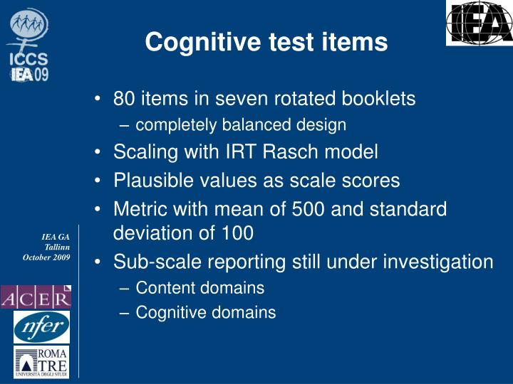 Cognitive test items