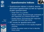 questionnaire indices